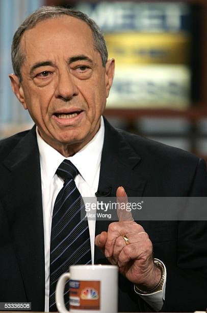Former New York Governor Mario Cuomo speaks on NBC's 'Meet the Press' August 7 2005 during a taping at the NBC studios in Washington DC Cuomo talked...