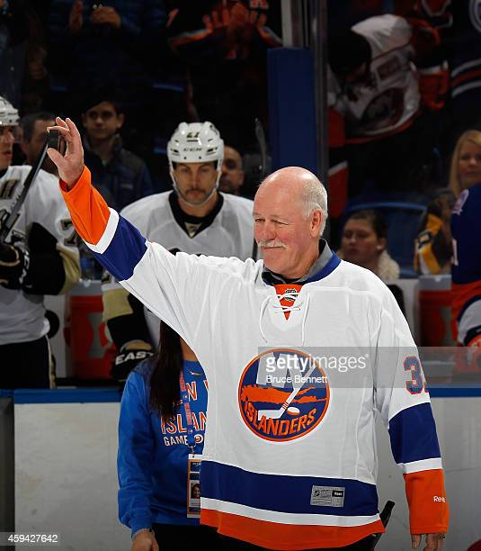 Former New York Islander Billy Smith is honored prior to the Islanders game against the Pittsburgh Penguins at the Nassau Veterans Memorial Coliseum...