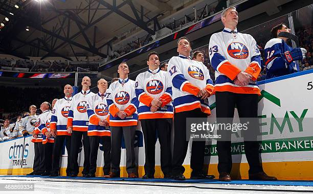 Former New York Islanders Ed Westfall, Gary Howatt, Bobby Nystrom, Ken Morrow, Butch Goring, Piere Turgeon, Steve Webb, Shawn Bates and Eric Cairns...