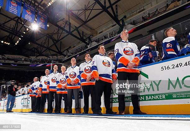 Former New York Islanders Ed Westfall, Gary Howatt, Bobby Nystrom, Ken Morrow, Butch Goring, Piere Turgeon, Steve Webb, Shawn Bates and Eric Cairns...