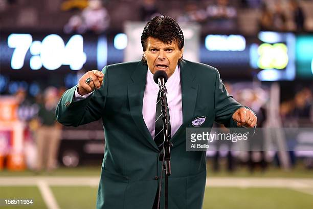 Former New York Jets AllPro defensive lineman Mark Gastineau addresses the crown during a haltime ceremony induction him and former Jets wide...