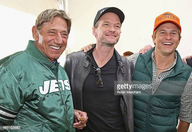 Former New York Jets quarterback Joe Namath actor Neil Patrick Harris and David Burtka attend Jets Chefs The Ultimate Tailgate hosted by Joe Namath...