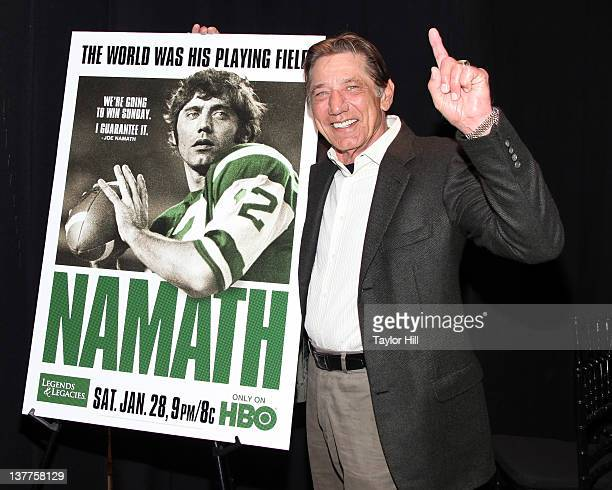 Former New York Jets Quarterback Joe Namath attends the premiere of Namath at the HBO Theater on January 25 2012 in New York City