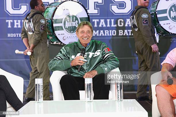 Former New York Jets quarterback Joe Namath speaks onstage during Jets Chefs The Ultimate Tailgate hosted by Joe Namath and Mario Batali Food Network...