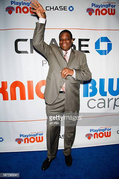 Former New York Knick Bernard King attends the Boston Celtics vs the New York Knicks 2013 Playoff game two at Madison Square Garden on April 23 2013...