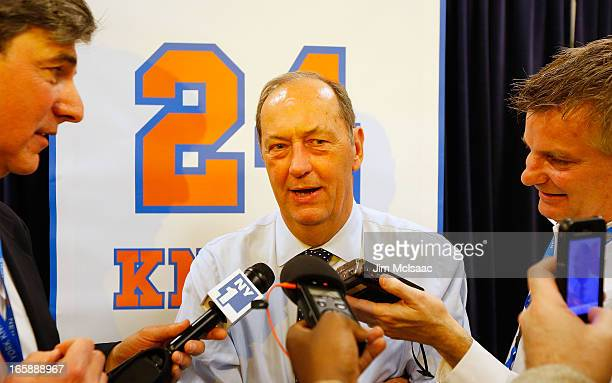Former New York Knick Bill Bradley speaks to the media during a press conference prior to the Knicks game against the Milwaukee Bucks at Madison...