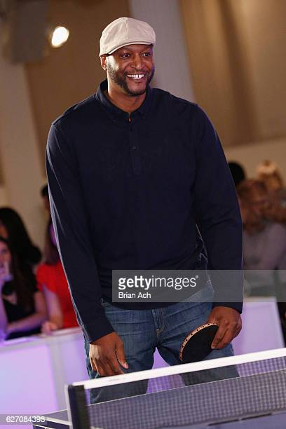 Former New York Knick John Wallace participates in tournament at the 8th Annual TopSpin New York Charity Event at Metropolitan Pavilion on December 1...