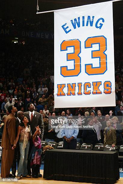 Former New York Knick Patrick Ewing is joined by son Patrick Jr father Carl daughter Randi and daughter Corey as his number is retired and his jersey...