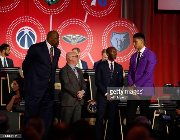 Former New York Knicks player Patrick Ewing David Griffin of the Memphis Grizzlies Elliott Perry of the Memphis Grizzlies and Kyle Kuzma of the Los...
