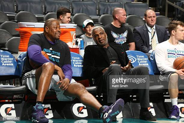 Former New York Knicks teammates Patrick Ewing and Charles Oakley before the game between the Charlotte Hornets and New Orleans Pelicans on March 9...