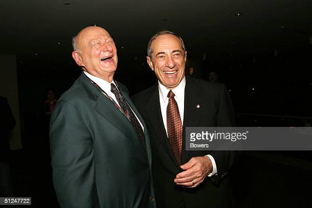 Former New York Mayor Ed Koch and former Governor of New York Mario Cuomo attend a party hosted by Arthur O Sulzberger Jr publisher of the New York...