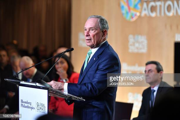Former New York Mayor Michael R Bloomberg speaks during the opening reception for the Global Climate Action Summit in San Francisco California on...
