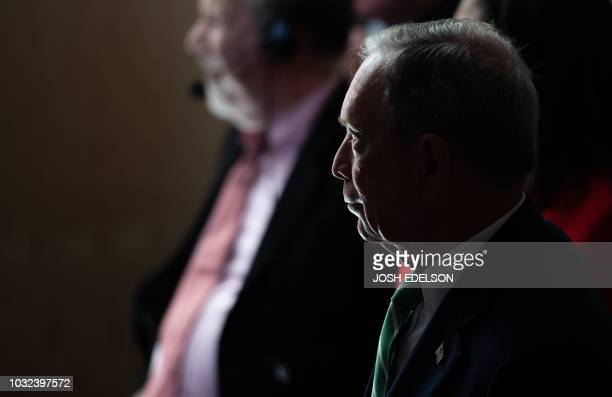 Former New York Mayor Michael R Bloomberg waits to take the stage during the opening reception for the Global Climate Action Summit in San Francisco...