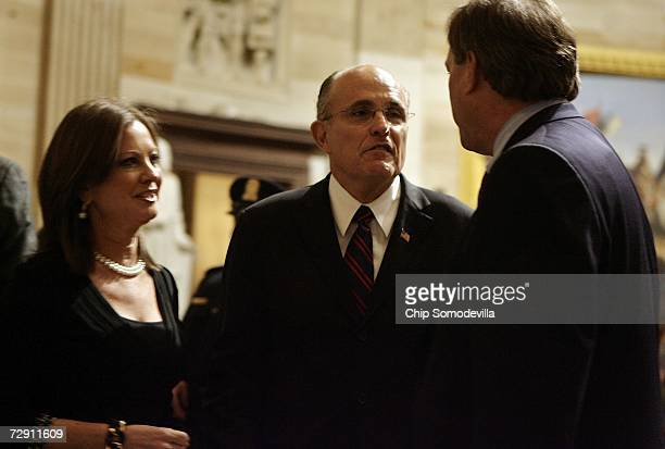 Former New York Mayor Rudy Giuliani and his wife Judith Nathan visit with Jack Ford son of former US President Gerald R Ford after they pay their...