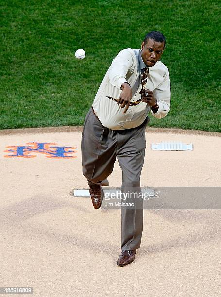 Former New York Met Dwight 'Doc' Gooden throws the ceremonial first pitch before a game against the Atlanta Braves at Citi Field on April 19 2014 in...