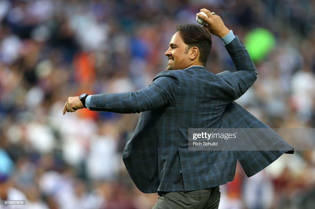 Former New York Mets catcher and Hall of Famer Mike Piazza, throws out the first pitch before a game between the New York Yankees and New York Mets at Citi Field on June 9, 2018 in the Flushing neighborhood of the Queens borough of New York City.