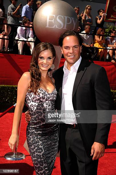 Former New York Mets catcher Mike Piazza and wife Alicia Rickter arrive at the 2010 ESPY Awards at Nokia Theatre LA Live on July 14 2010 in Los...