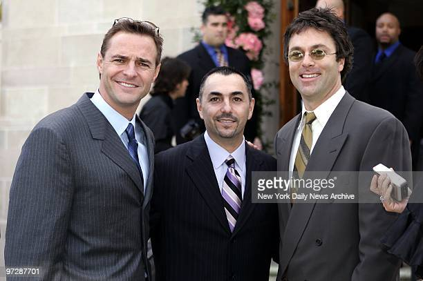 Former New York Mets' players Al Leiter John Franco and Todd Zeile leave St Jude's Catholic Church in Miami after attending the wedding of Mets'...