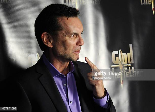 Former New York mobster/captain of the Colombo crime family Michael Franzese arrives at the premiere of 'God The Father' at The Los Feliz 3 Cinema on...