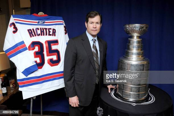 Former New York Ranger Mike Richter attends Sheraton Hotels Resorts presents the NHL Stanley Cup with former New York Ranger Mike Richter at Sheraton...