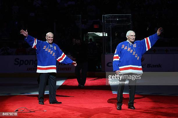 Former New York Ranger players Andy Bathgate and Harry Howell have their numbers retired by the team prior to the game between the Toronto Maple...