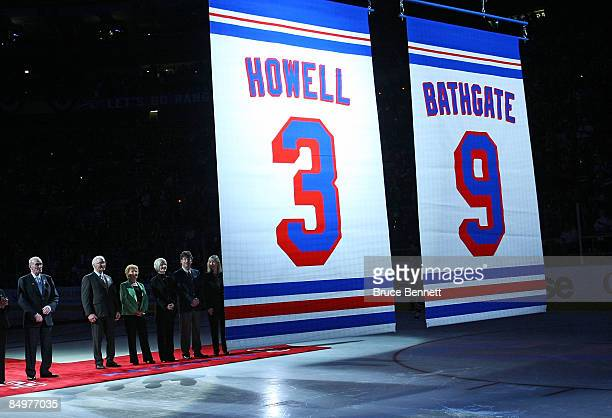Former New York Ranger players Harry Howell and Andy Bathgate have their numbers retired by the team prior to the game between the Toronto Maple...