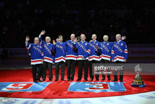Former New York Ranger players whose numbers have been retired join with Andy Bathgate and Harry Howell as they are given the same honor prior to the...