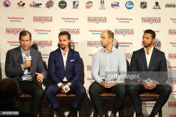 Former New York Rangers Goaltender Mike Richter Ottawa Senators Defenseman Erik Karlsson New York Rangers Defensemen Kevin Shattenkirk and Columbus...