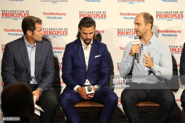 Former New York Rangers Goaltender Mike Richter Ottawa Senators Defenseman Erik Karlsson and New York Rangers Defensemen Kevin Shattenkirk speak...
