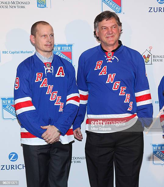 Former New York Rangers hockey players Ron Greschner and Adam Graves attend the 16th Annual Skate With The Greats at Rockefeller Center on January 28...