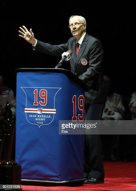 Former New York Rangers Jean Ratelle speaks to the fans on February 25 2018 at Madison Square Garden in New York CityThe New York Rangers honored...