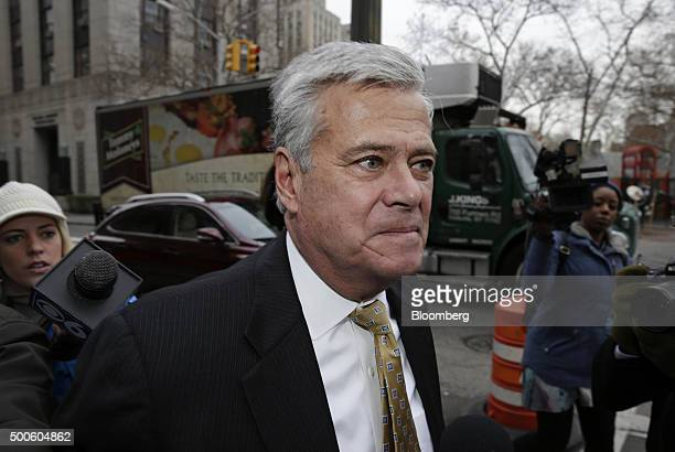 Former New York Senate Majority Leader Dean Skelos arrives at federal court in New York US on Wednesday Dec 9 2015 Skelos pleaded not guilty to...