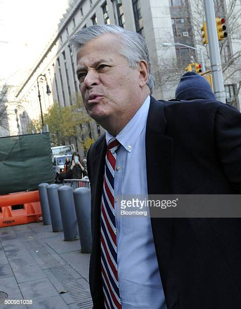 Former New York Senate Majority Leader Dean Skelos arrives at federal court in New York US on Friday Dec 11 2015 Skelos pleaded not guilty to charges...