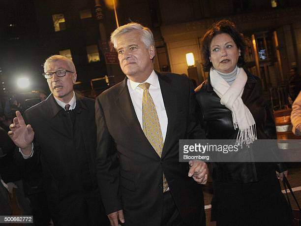 Former New York Senate Majority Leader Dean Skelos center exits federal court with his wife Gail Skelos right in New York US on Wednesday Dec 9 2015...