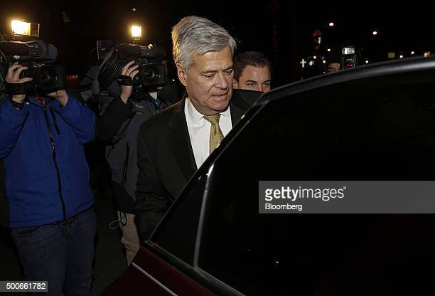 Former New York Senate Majority Leader Dean Skelos exits federal court in New York US on Wednesday Dec 9 2015 Skelos pleaded not guilty to charges...