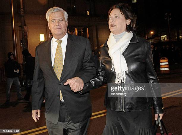 Former New York Senate Majority Leader Dean Skelos left exits federal court with his wife Gail Skelos in New York US on Wednesday Dec 9 2015 Skelos...