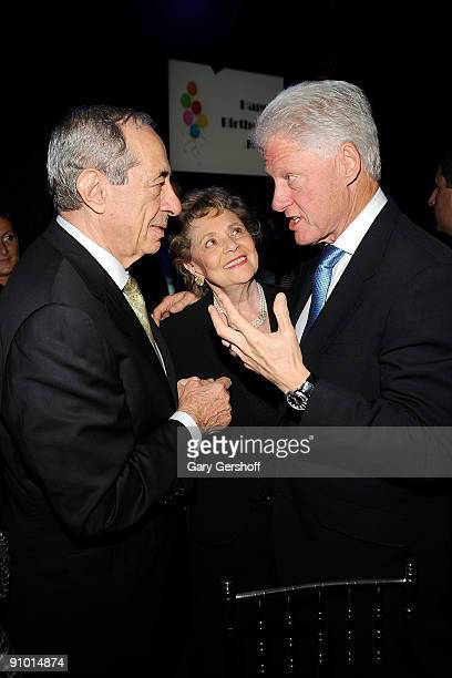 Former New York State governor Mario Cuomo Matilda Cuomo and former president Bill Clinton attend the Exploring the Arts Gala at Cipriani Wall Street...