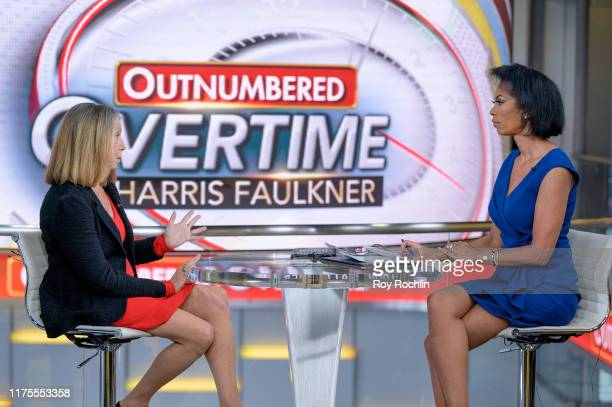 Former New York Times Executive Editor Jill Abramson with anchor Harris Faulkner as she visits Outnumbered Overtime at Fox News Channel Studios on...