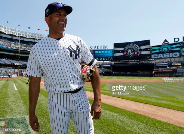 Former New York Yankee and 2019 Baseball Hall of Fame inductee Mariano Rivera walks on the field during the teams Old Timers Day prior to a game...