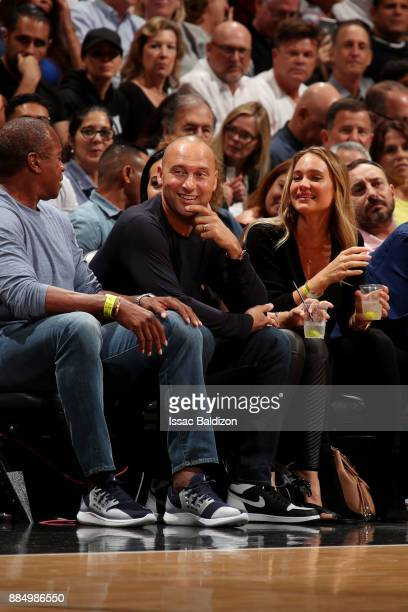 Former New York Yankee and Miami Marlins Owner Derek Jeter is seen at the game between the Miami Heat and Golden State Warriors on December 3 2017 in...