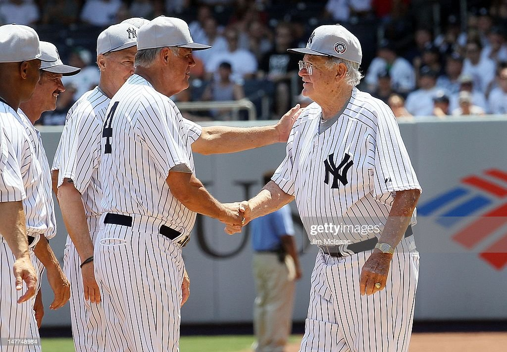 Former New York Yankee Bob Turley (R) and Lou Piniella during the Yankees 66th Annual Old Timers day before the game against the Chicago White Sox at Yankee Stadium on July 1, 2012 in the Bronx borough of New York City. The Yankees defeated the White Sox 4-2.