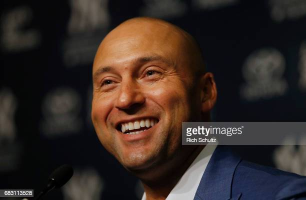 Former New York Yankee Derek Jeter address the media after a pregame ceremony honoring him and retiring his number 2 at Yankee Stadium on May 14 2017...