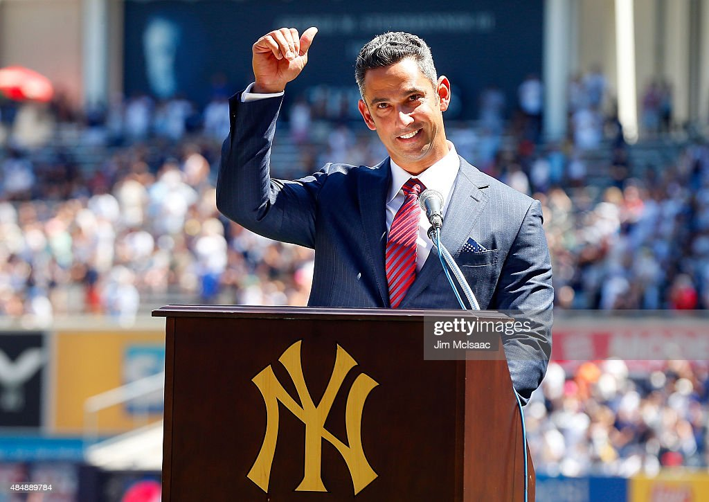 Former New York Yankee Jorge Posada speaks to the crowd during a ceremony retiring his number before the Yankees play against the Cleveland Indians at Yankee Stadium on August 22, 2015 in the Bronx borough of New York City.
