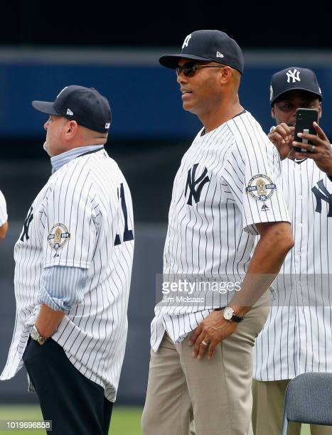 Former New York Yankee Mariano Rivera looks on during a ceremony prior to a game between the Yankees and the Toronto Blue Jays at Yankee Stadium on...
