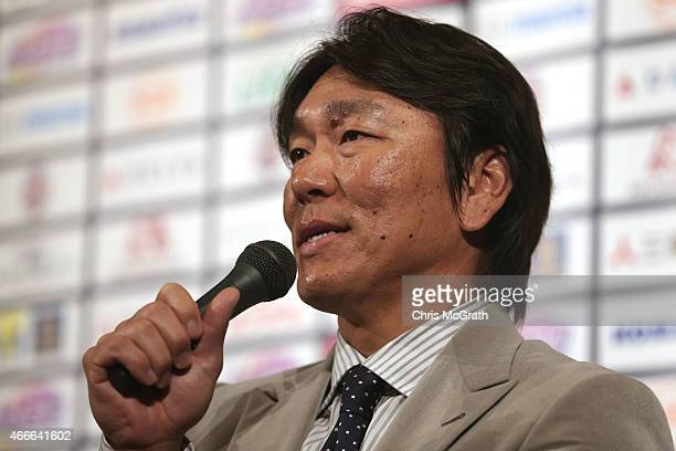 Former New York Yankee player Hideki Matsui speaks to the media during a press conference about the 'Tomodachi Charity Baseball Game' on March 18...
