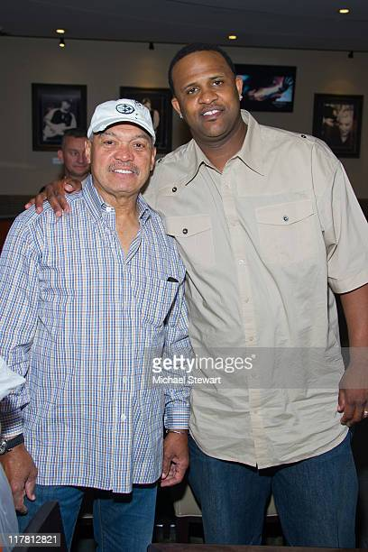Former New York Yankee player Reggie Jackson and New York Yankee player CC Sabathia attends the David and Erin Robertson Foundation benefit at the...