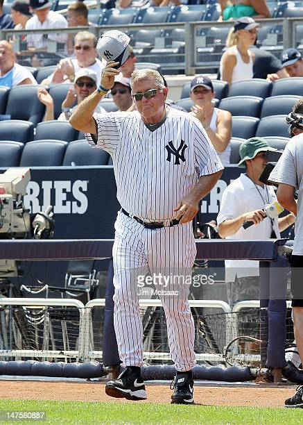 Former New York Yankee Tommy John is introduced during the Yankees 66th Annual Old Timers day before the game against the Chicago White Sox at Yankee...