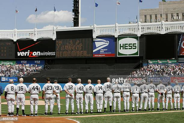 Former New York Yankees gather on the field during the New York Yankees 59th annual oldtimers' day before the start of the Yankees game against the...