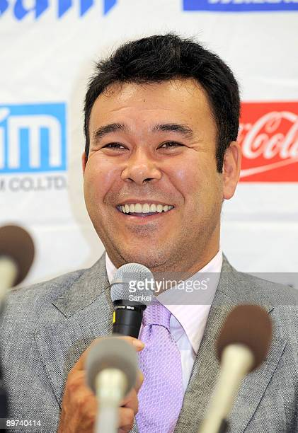 Former New York Yankees pitcher Hideki Irabu attends a press conference after joining Kochi Fighting Dogs at Kuroshio Arena on August 10 2009 in...