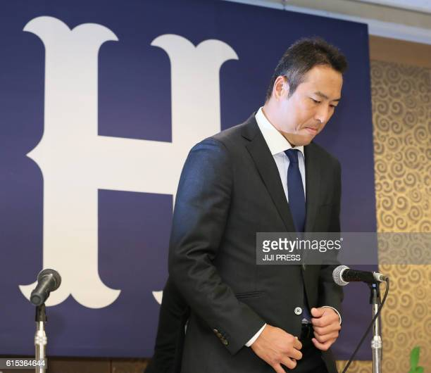 Former New York Yankees pitcher Hiroki Kuroda attends a press conference in Hiroshima on October 18 2016 Kuroda on October 18 announced his...